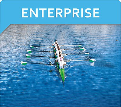 Big rowing team and text ENTERPRISE