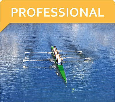 Rowing team and text PROFESSIONAL